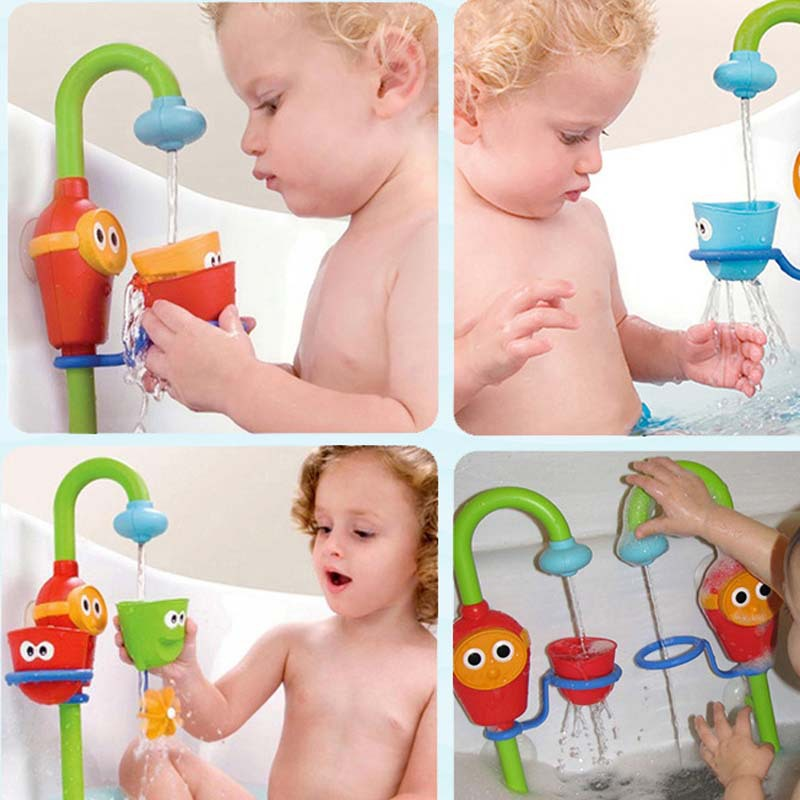 Children playing in the water bath toy water faucet water toy car ...