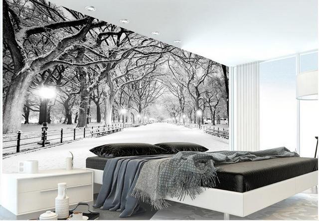 3d Papier Peint Chambre Hiver Neige Foret Paysage Toile De Fond 3d