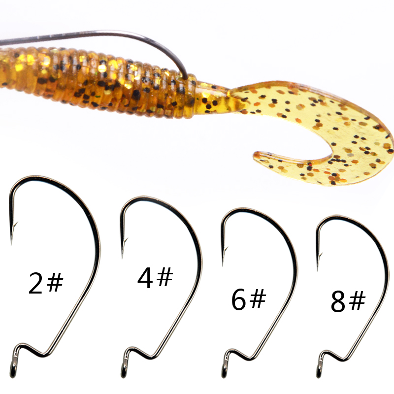 BaMMax Fishing Hook High Quality 10pcs 8# 4# 2/0 3/0 Crank Hook For Soft Worm Bait Crankbait Fishing Tackle Accessories Pesca