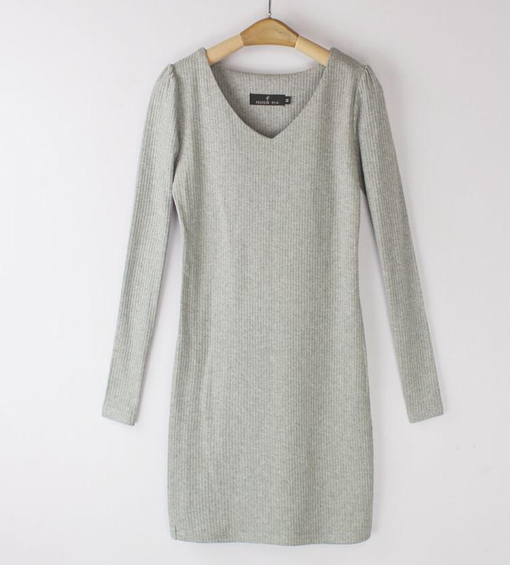 Hot Spring 2015 fashion pullover dress, stretch knit sweaters, long-sleeved V-neck dress in autumn 3 color size M-XL