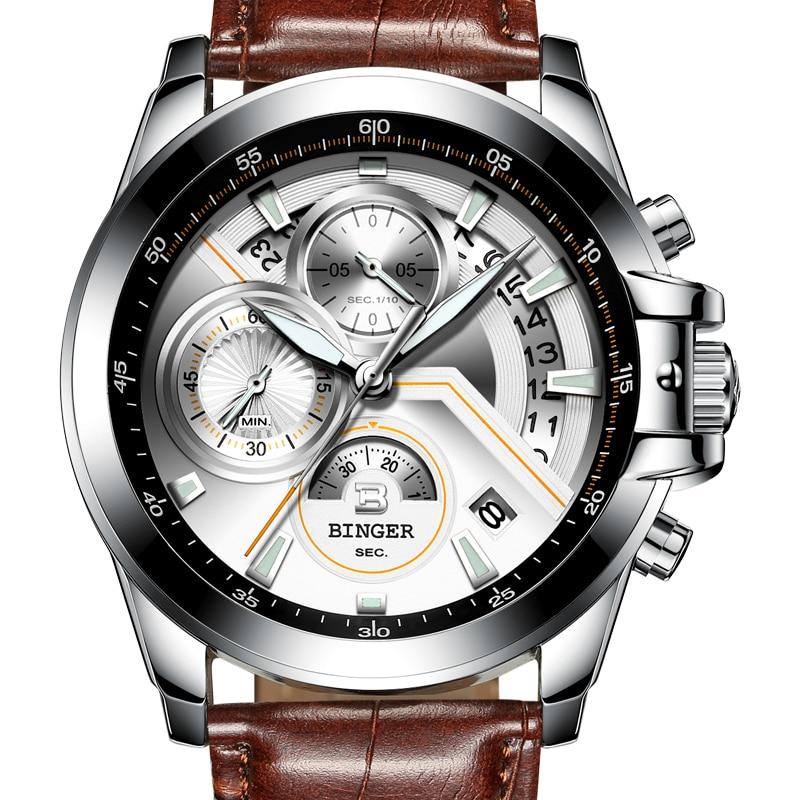 Switzerland BINGER Mens Watches Top Brand Luxury Quartz Watch Men Calendar Chronograph Sapphire HD Luminous Leather Strap Clock