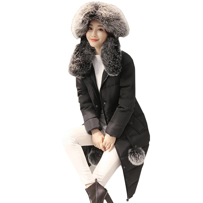 women cotton coat and winter jacket slim thicken warm outerwear parka long large faux fur collar hooded jacket kp1300