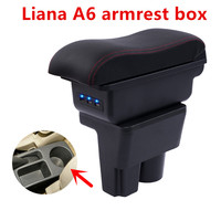 For Suzuki liana A6 armrest box USB Charging heighten Double layer central Store content cup holder ashtray accessories