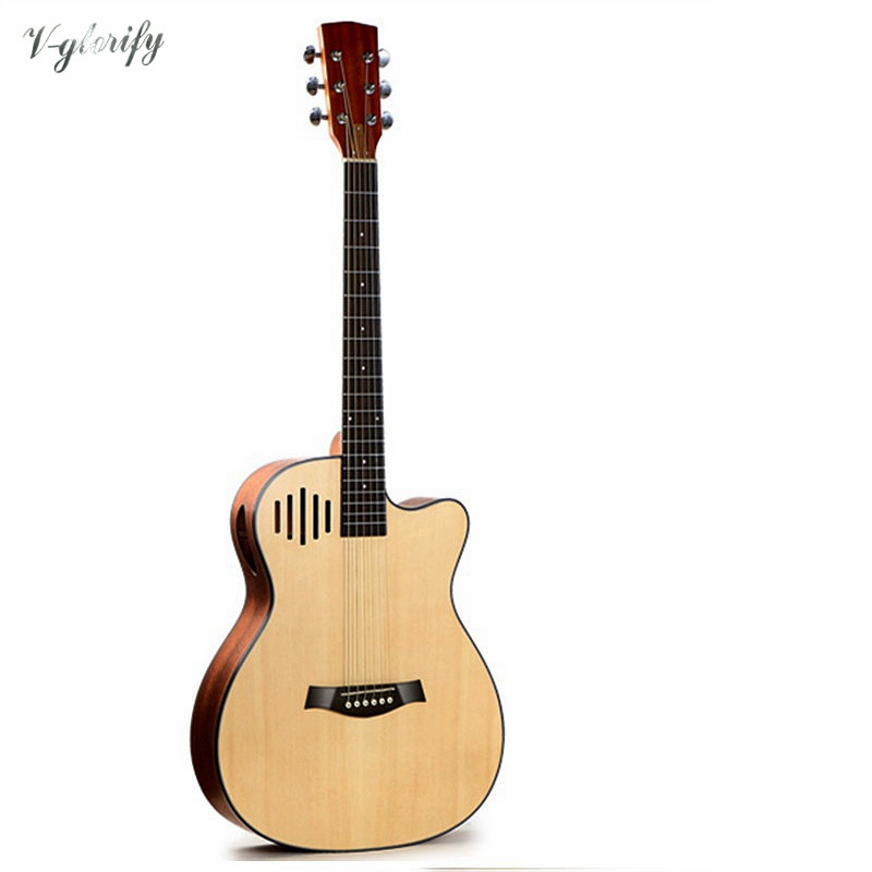 factory guitarra free shipping 40 inch cutway acoustic electric guitar A-shaped performance cutway classic guitar with hard case