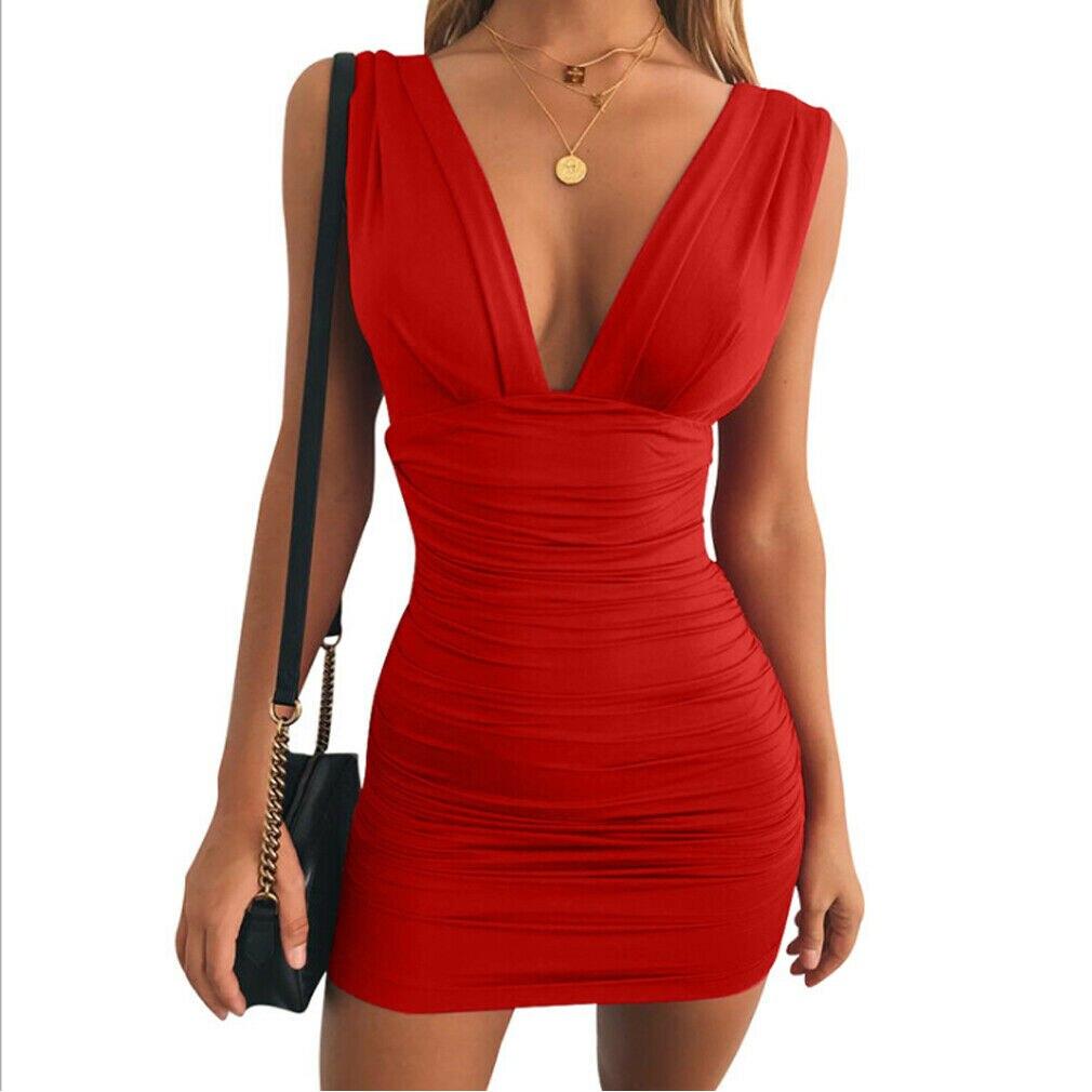 New Summer Women's Bodycon Mini Dress Sexy Ladies Sleeveless V Neck Party Cocktail Club Slim Fit Dress Sundress