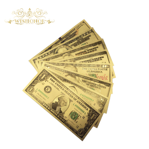 8pcs/lot America Dollar Set Banknotes USD 1 2 5 10 20 50 100 Dollar Bills Banknote In 24K Gold Paper Money For Collection