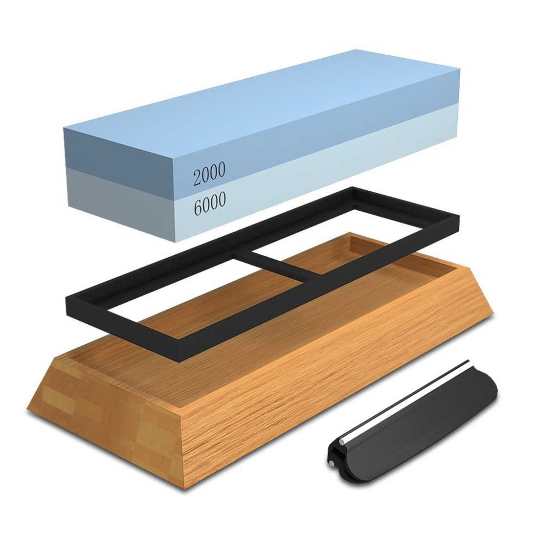 Sharpening Stone For Knives, Professional Waterstones Combination Grit 2000/6000 Whetstone Sharpening with Bamboo Base Blue new