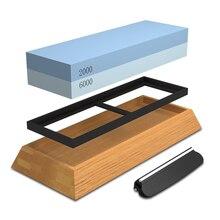 Piedra de afilar para cuchillos, piedras de agua profesionales combinación arena 2000/6000 afilado con Base de bambú azul nuevo