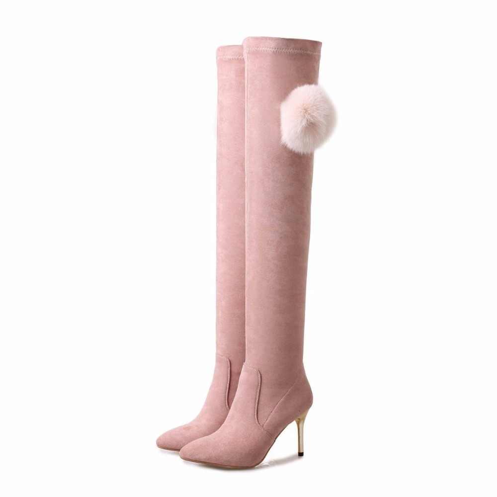 Yeni Varış Flanel Vizon Saç Marka Kış Ayakkabı Sıcak Tutmak Uyluk Yüksek Çizmeler Ince Topuklu Sivri Burun Kadın Aşırı diz Çizmeler L66