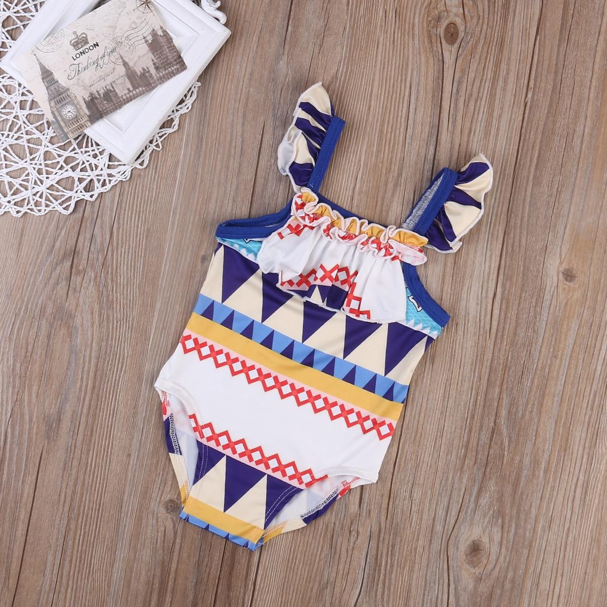 Newborn Kid Baby Girl Bikini Geometric Swimwear Swimsuit Bathing Suit