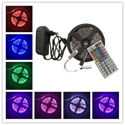 RGB LED strip SMD 5050 led diode ribbon 5M With 44 keys IR Remote DC 12V adapter flexible bar home cupboard decoration light in LED Strips from Lights Lighting
