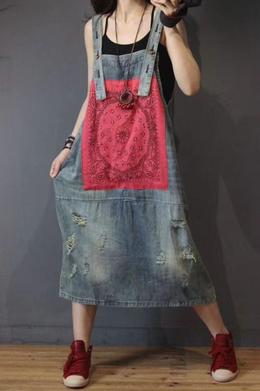 Summer Dress Women Retro Large size Denim Dress New Ladies 2018 Casual Print pocket hole Bleached