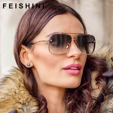 FEISHINI 2019 Fashion Grey Gradient Eyewear Shield Rhinestone Rimless Sunglasses Women Vintage Oversized Luxury Brand Designer
