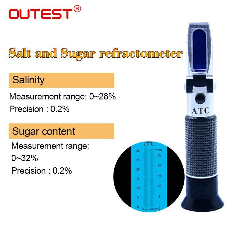 2 dans 1 Portable refractometre alimentaire salinité et sucre mètre salinité mesure gamme 0-28%, sucre mesure gamme 0-32% RZ130