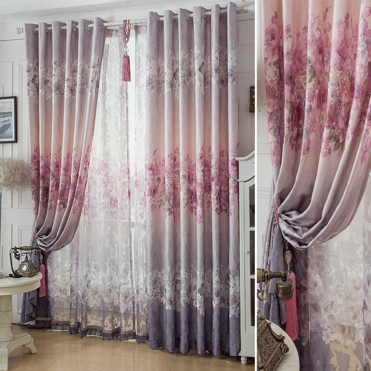 1 Pc Curtain And 1 Pc Tulle Peony Luxury Window Curtains: Peony Garden Printing Jacquard Curtains For Living Dining