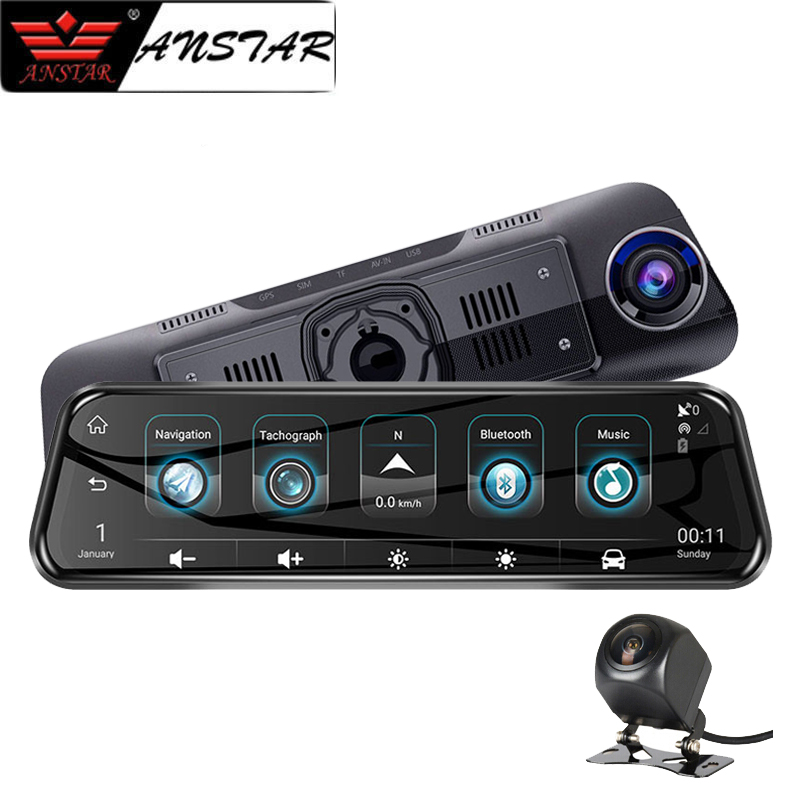 ANSTAR 10 4G 3G Rearview Mirror Dash Cam 1080P Android DVR GPS Navigation ADAS WIFI Dual