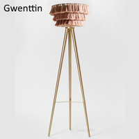Nordic Pink Silk Thread Floor Lamp for Living Room Modern Gold Tripod Led Standing Light Fixtures Bedroom Stand Lights Home Deco