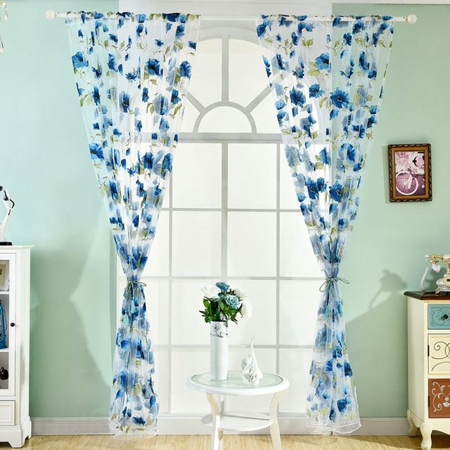 Polyester Tüll Blumen Gedruckt Vorhang Translucidus Für Küche Wohnzimmer  Arbeitszimmer Französisch Fenster Vorhang