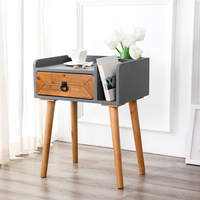 Mini Pine Wood Drawer Cabinet Handle Storage Cabinet Stable Bedside Table MDFSheet Aluminum Nightstand Easy Install50*35*63cm