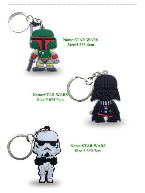1PCS Star Wars PVC Cartoon Key Chain Mini Anime Figure Key Ring Kids Toy Pendant Keychain Key Holder Fashion Charms Trinkets 1