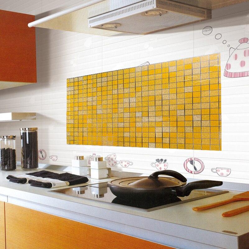3D wallpaper mosaic kitchen anti oil wall stickers high temperature ...