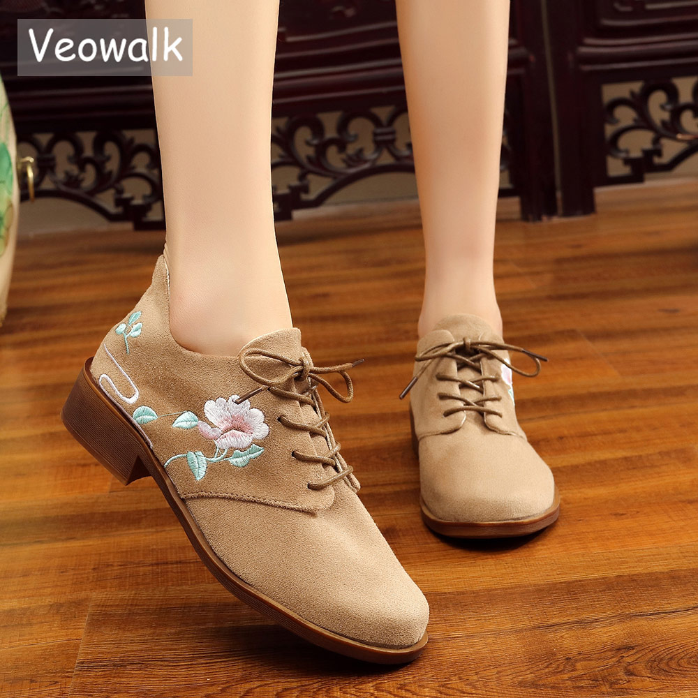 Veowalk Flower Embroidered Women Cotton Fabric Derby Shoes Retro Classic Style Elegant Ladies Lace up Denim Canvas Flats мульти пульти мягкая игрушка динозаврик спайк со звуком 23 см my little pony мульти пульти