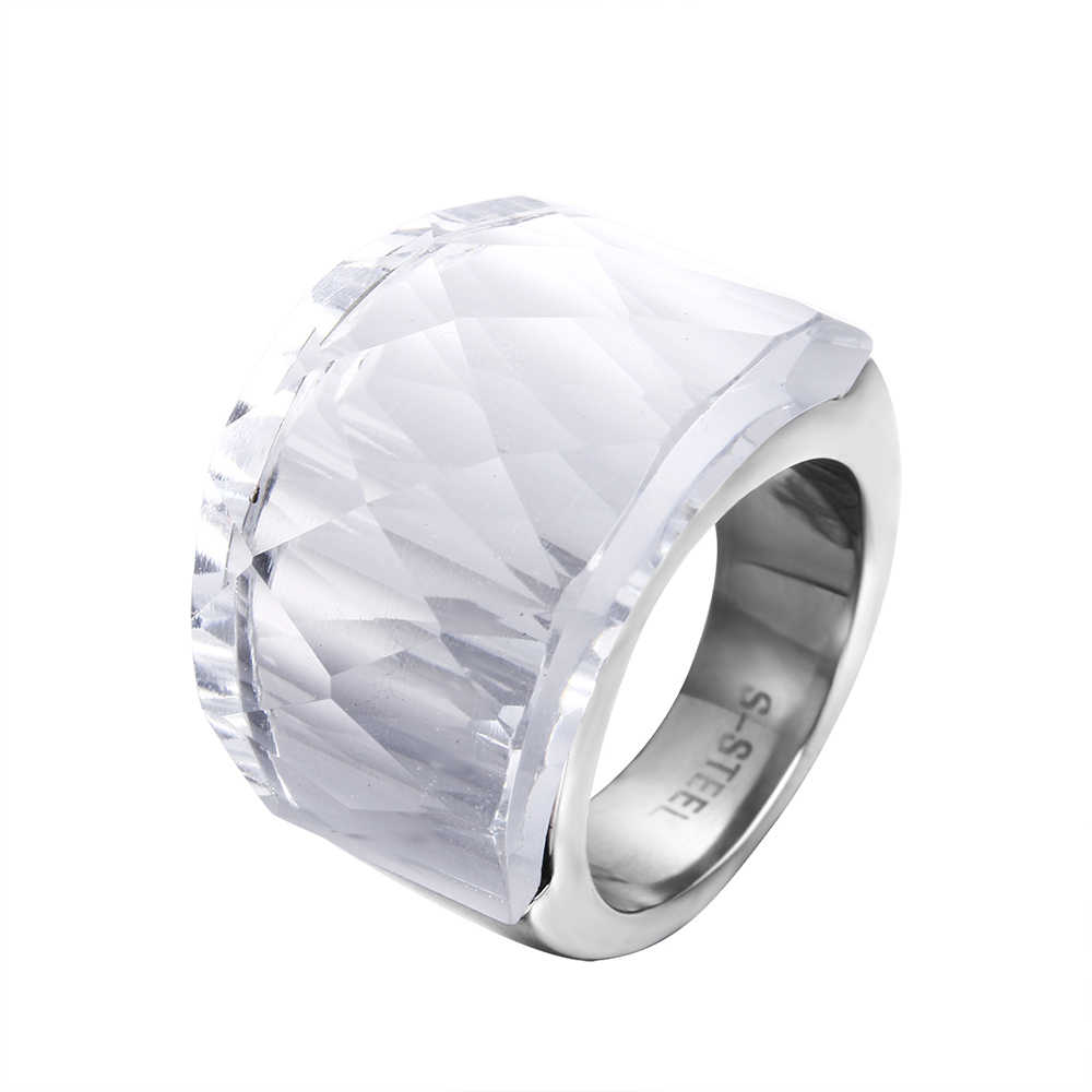 ZMZY Fashion Luxury Big Stainless Steel Rings for Women Faceted Clean Glass Ring Jewelry