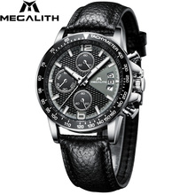 MEGALITH Männer Sport Chronograph Uhren Wasserdicht Datum Kalender Quarz Uhren Mens Fashion Casual Lederband Wirst Uhr Männer
