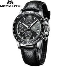 MEGALITH Men Sport Chronograph Watches Waterproof Date Calendar Quartz Watches Mens Fashion Casual Leather Strap Wirst Watch Men