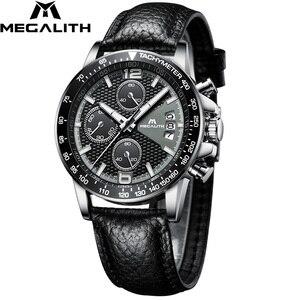 Image 1 - MEGALITH 男性スポーツクロノグラフウォッチ腕時計防水日付カレンダークォーツ時計メンズファッションカジュアルレザーストラップ Wirst 腕時計メンズ