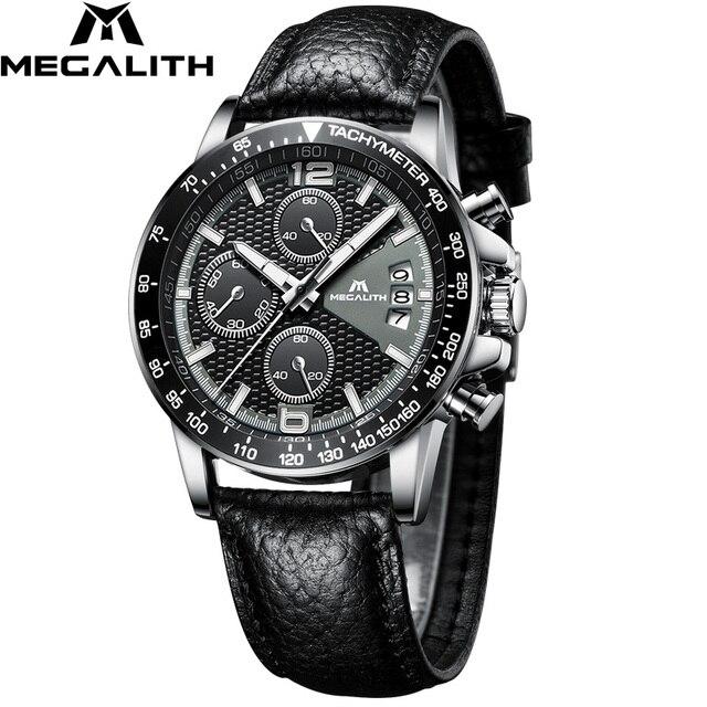 MEGALITH 男性スポーツクロノグラフウォッチ腕時計防水日付カレンダークォーツ時計メンズファッションカジュアルレザーストラップ Wirst 腕時計メンズ