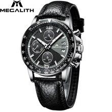 Megalith men sport chronograph relógios à prova dwaterproof água data calendário relógios de quartzo dos homens moda casual pulseira de couro wirst relógio masculino