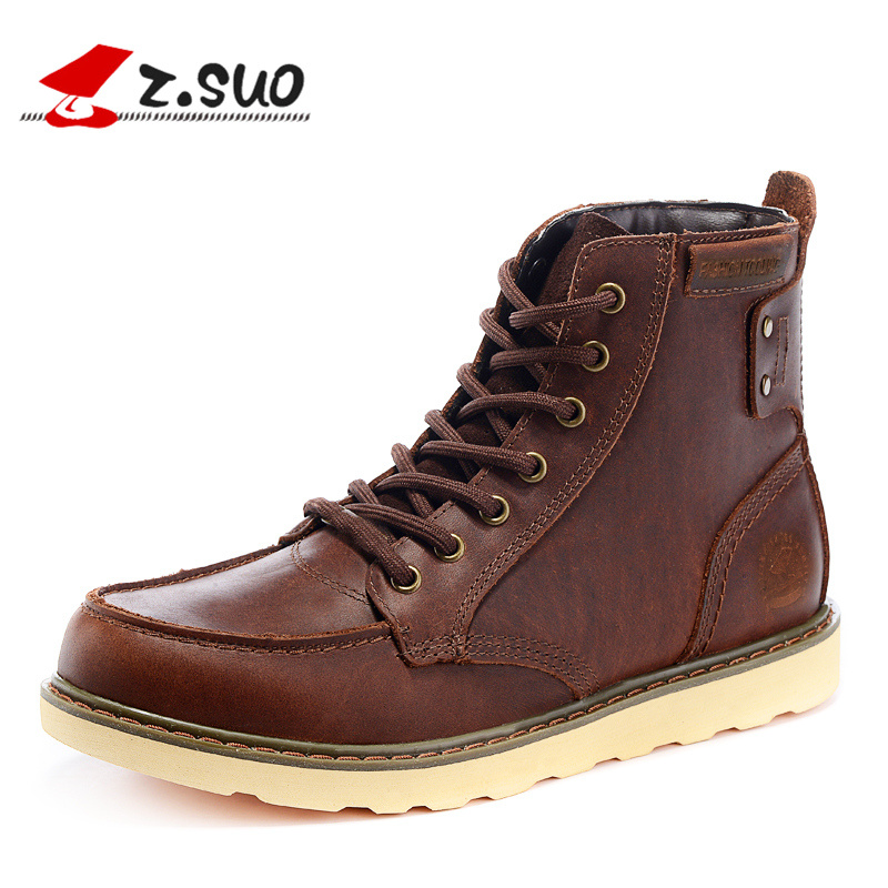Z.SUO Brand ZS15086 Autumn Men's Crazy Horse Cow Leather Tooling Boots Double Rivets Genuine Leather Men Fashion Work Boots