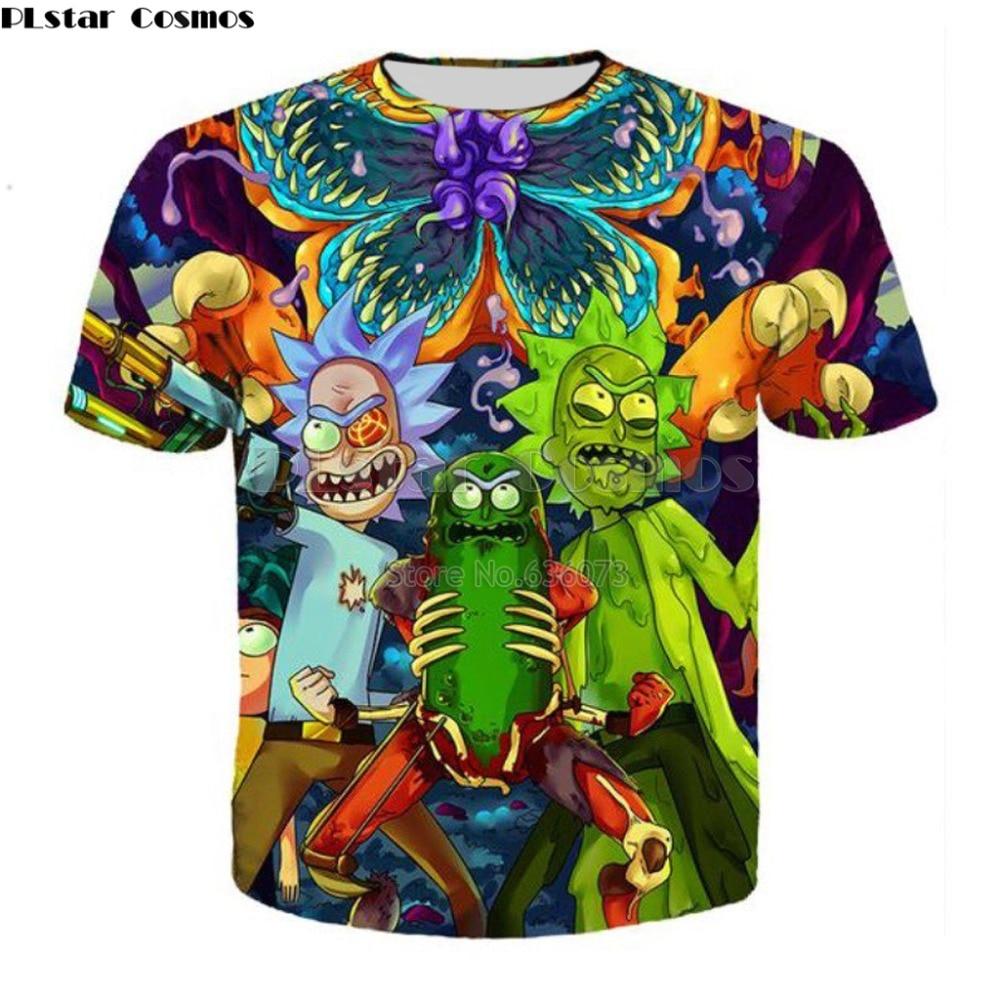PLstar Cosmos Free shipping 2017 summer New Fashion Cartoon t-shirt Men/women tees 3d Print Rick and Morty Hip hop Tee shirts