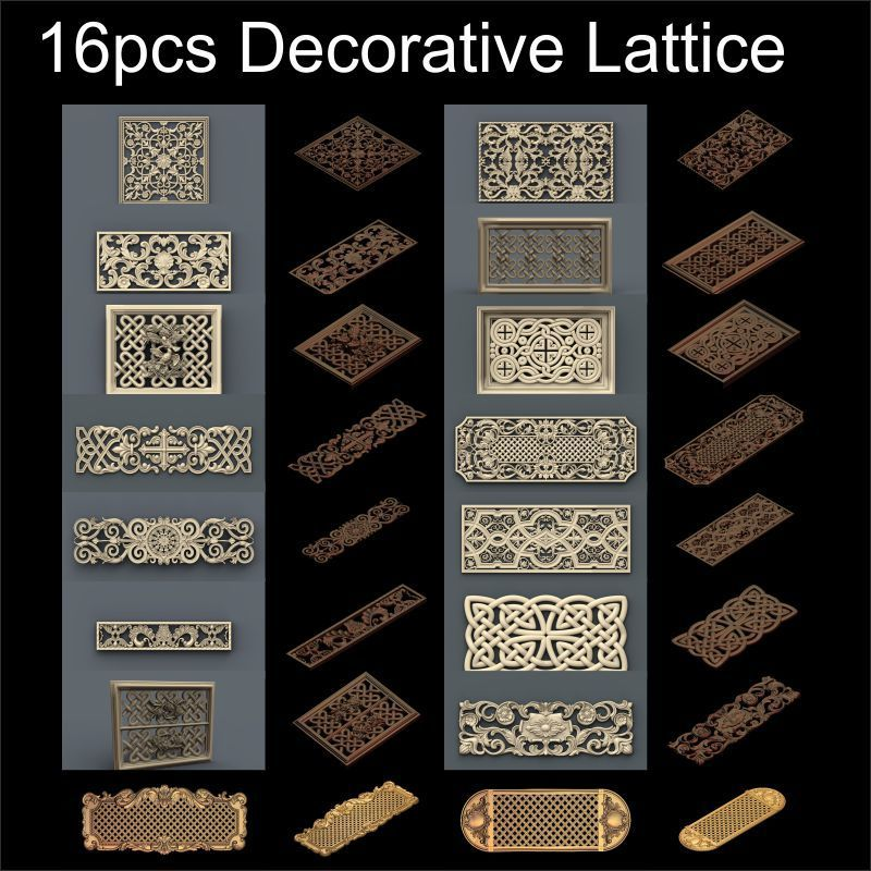 16pcs Decorative Lattice 3d Model STL Relief For Cnc STL Format Frame  Decor 3d Relief Model STL Router 3 Axis Engraver ArtCam