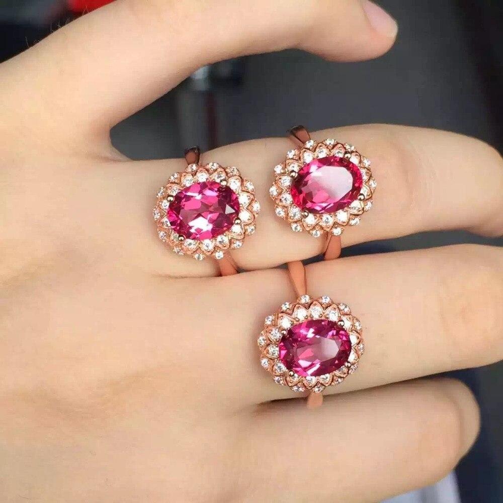 7*9mm pierre de topaze rose naturel bague femmes pierre gemme naturelle bague de fiançailles en solide 925 bijoux en argent Sterling Design classique