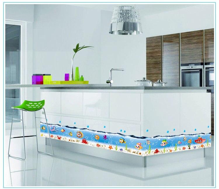 acqua di mare blu della parete del vinile decalcomanie di arte fumetto di pesce adesivi