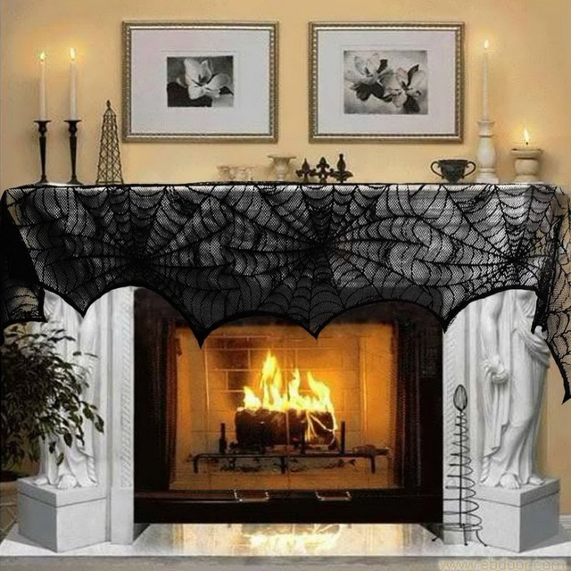 Halloween Decoration Party Table Cloth 18*96in Black Lace Spiderweb Fireplace Mantle Scarf Cover Festive Party Supplies  1 Piece