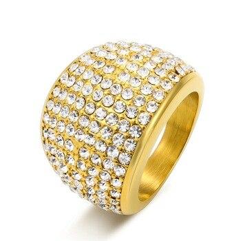cda6a323134a Acero inoxidable de lujo de cristal de gran piedra AAA Cubic Zirconia  anillos para los hombres y de las mujeres Anillo del Zircon del color del  oro SZ 6-10