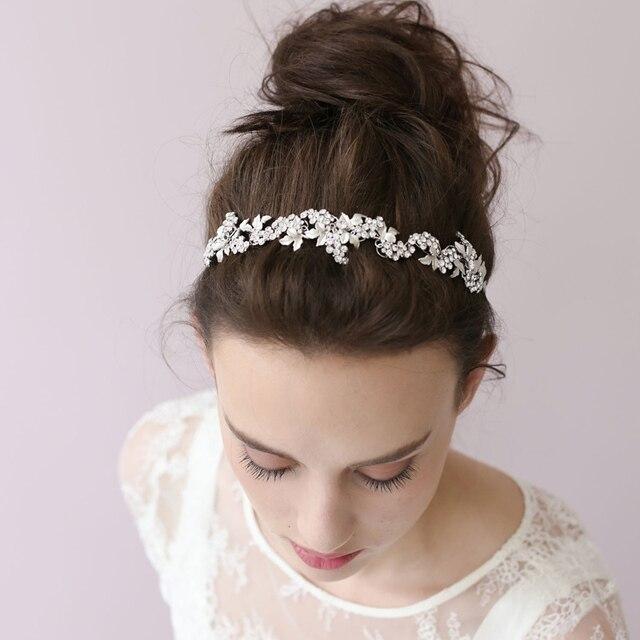 2017 Womens Korean Handmade Bridal Hair Accessory Wedding Dress Silver Hairbands Flower Accessories Handbands Girls O030