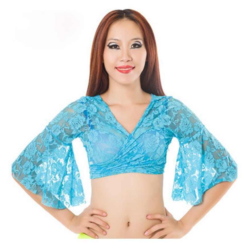 900e8c436076a8 2018 Belly Dance Bolero Lace Top Flared Blouse Women Sexy Lace Top Female  Dance Clothes Colour