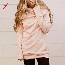 2017 Womens Hip Hop Pink Hoodies Pullovers Tracksuit with zipper Pockets Hooded Sweatshirt Autumn Winter Streetwear Pullover Top