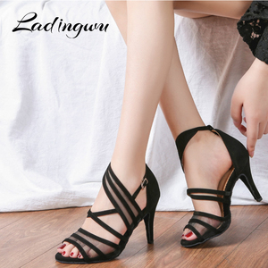 Image 1 - Ladingwu Women Dance Shoes Latin Flannel and Mesh Salsa Dance Shoes Red Brown Black Sneakers Dance Shoes Ballroom Heel 9cm