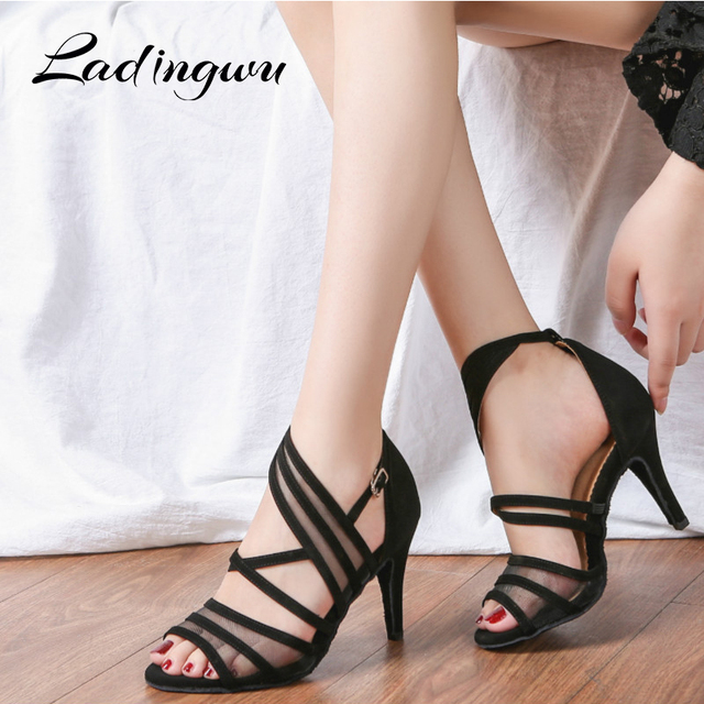 Ladingwu Women Dance Shoes Latin Flannel and Mesh Salsa Dance Shoes Red Brown Black Sneakers Dance Shoes Ballroom Heel 9cm