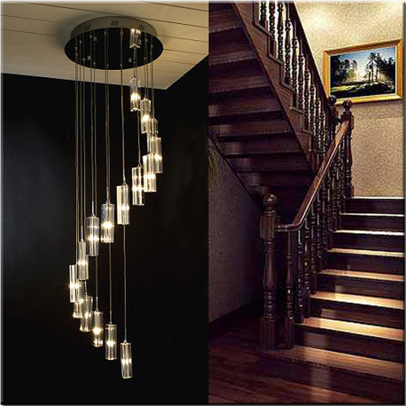 Modern Chinese minimalist villa Crystal LED long chandelier S-shaped flat stair Villa loft living room lighting led lighting modern chinese simple villa crystal block long line led chandelier s type rotating double staircase living room lighting led