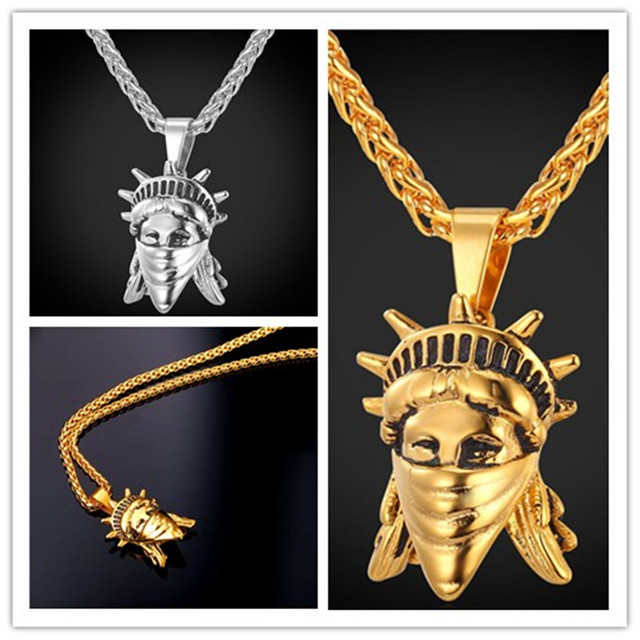 b324006925c1 Nuevo oro rebelde americano colgante hip hop joyería máscara hombres joyería  regalo mujeres hombres encanto moda