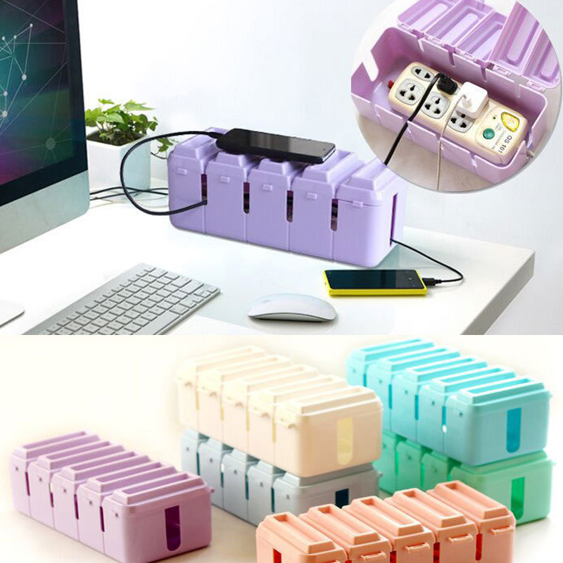 25.5*12*10CM Power Plug Socket Cable Storage Box Wire Management Socket Safety Outlet Board Container Cables Storage Organizer