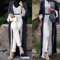 Muslim Dress Women Lace Trimmed Front Abaya Muslim Maxi Kaftan Kimono Kaftan dubai Islamic african clothing abayas for women