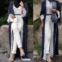 Muslim Dress Women Lace Trimmed Front Abaya Muslim Maxi Kaftan Kimono Kaftan dubai Islamic african clothing abayas for women