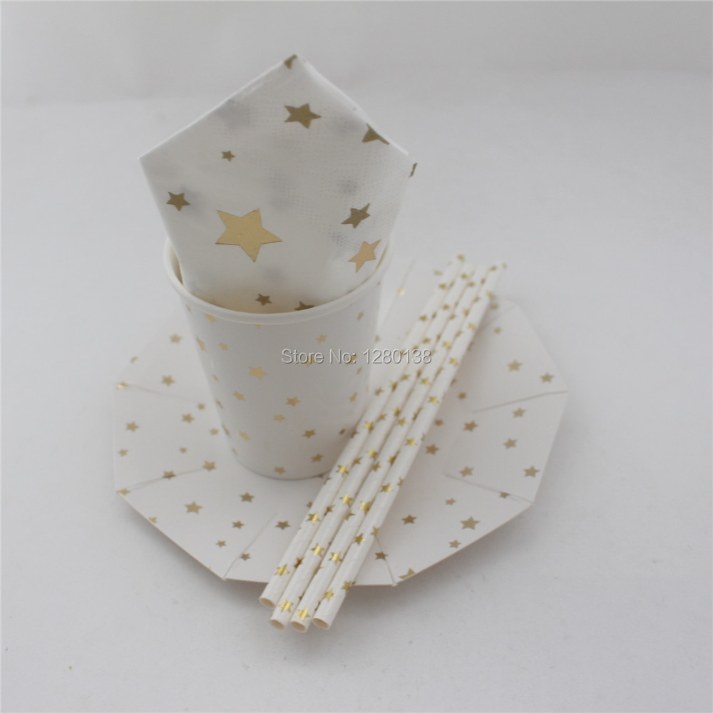 32Set Silver Gold Star Foil Wedding Paper Plates Cocktail Straws Baby Shower Party Favor Paper Napkins Cups Disposable Tableware-in Disposable Party ... & 32Set Silver Gold Star Foil Wedding Paper Plates Cocktail Straws ...